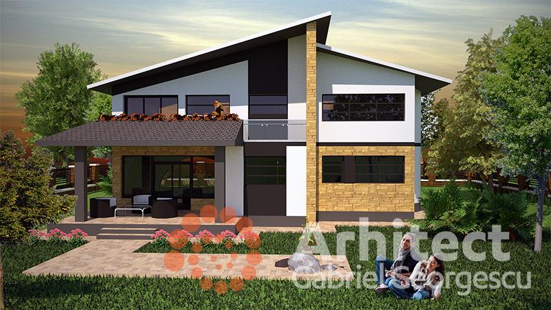 Proiecte de case casa cu etaj 32 arhitect gabriel for Modele de case fara etaj cu terasa