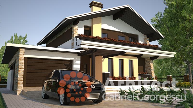 Proiecte de case casa cu etaj 46 arhitect gabriel for Proiecte case cu garaj