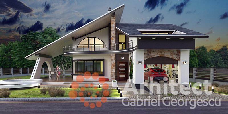 Proiecte de case casa cu etaj 58 arhitect gabriel for Modele de case fara etaj cu terasa